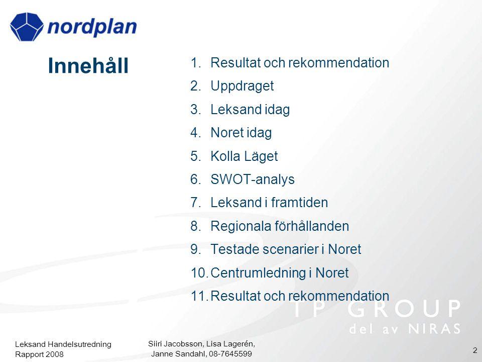Leksand Handelsutredning Rapport 2008 Siiri Jacobsson, Lisa Lagerén, Janne Sandahl, 08-7645599 2 Innehåll 1.Resultat och rekommendation 2.Uppdraget 3.