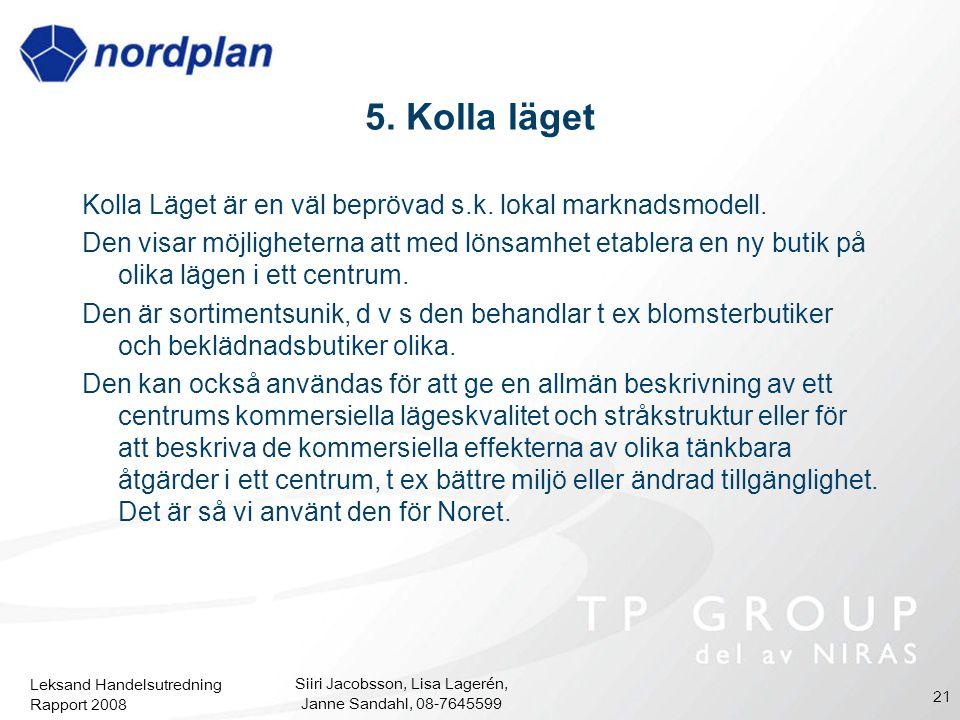 Leksand Handelsutredning Rapport 2008 Siiri Jacobsson, Lisa Lagerén, Janne Sandahl, 08-7645599 21 5. Kolla läget Kolla Läget är en väl beprövad s.k. l