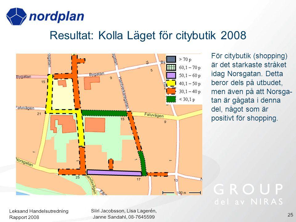 Leksand Handelsutredning Rapport 2008 Siiri Jacobsson, Lisa Lagerén, Janne Sandahl, 08-7645599 25 Resultat: Kolla Läget för citybutik 2008 För citybut