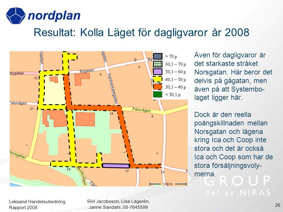 Leksand Handelsutredning Rapport 2008 Siiri Jacobsson, Lisa Lagerén, Janne Sandahl, 08-7645599 26 Resultat: Kolla Läget för dagligvaror år 2008 Även f