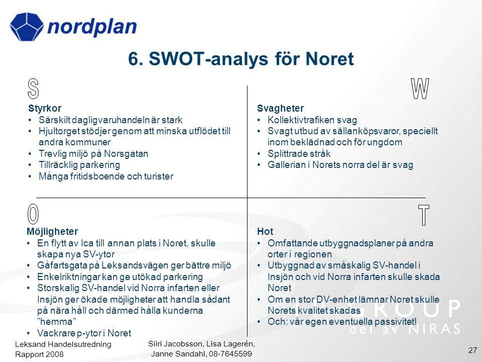 Leksand Handelsutredning Rapport 2008 Siiri Jacobsson, Lisa Lagerén, Janne Sandahl, 08-7645599 27 6. SWOT-analys för Noret Styrkor Särskilt dagligvaru