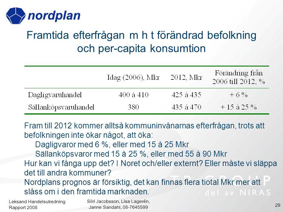 Leksand Handelsutredning Rapport 2008 Siiri Jacobsson, Lisa Lagerén, Janne Sandahl, 08-7645599 29 Framtida efterfrågan m h t förändrad befolkning och