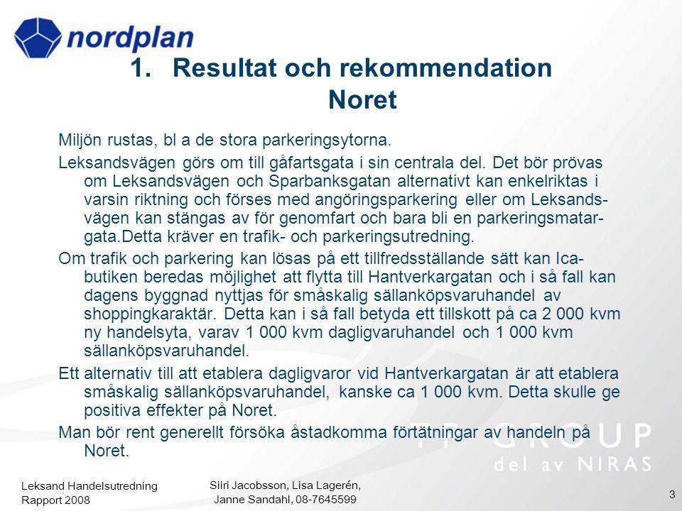 Leksand Handelsutredning Rapport 2008 Siiri Jacobsson, Lisa Lagerén, Janne Sandahl, 08-7645599 3 1.Resultat och rekommendation Noret Miljön rustas, bl