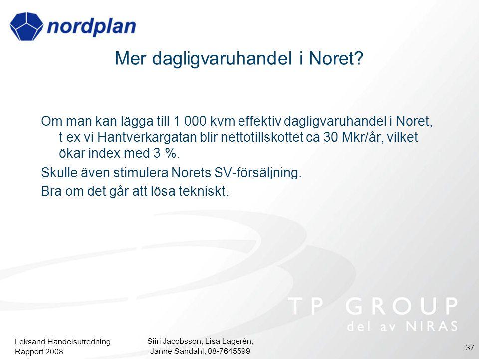 Leksand Handelsutredning Rapport 2008 Siiri Jacobsson, Lisa Lagerén, Janne Sandahl, 08-7645599 37 Mer dagligvaruhandel i Noret? Om man kan lägga till
