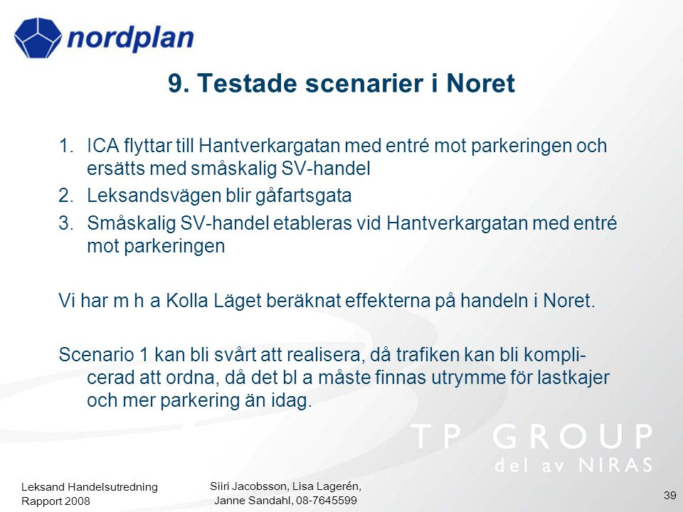 Leksand Handelsutredning Rapport 2008 Siiri Jacobsson, Lisa Lagerén, Janne Sandahl, 08-7645599 39 9. Testade scenarier i Noret 1.ICA flyttar till Hant