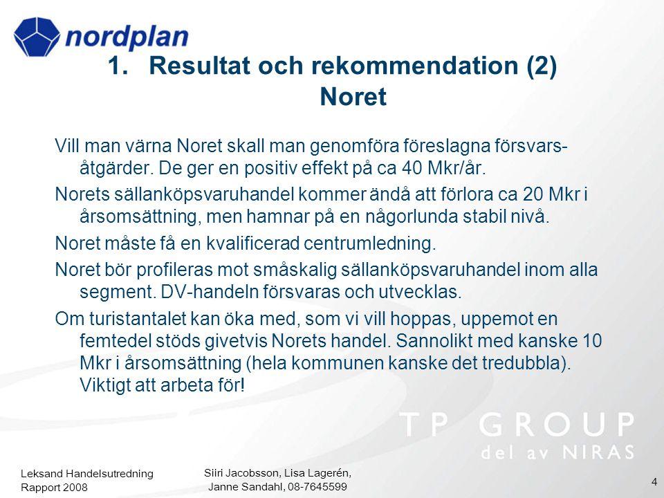 Leksand Handelsutredning Rapport 2008 Siiri Jacobsson, Lisa Lagerén, Janne Sandahl, 08-7645599 4 1.Resultat och rekommendation (2) Noret Vill man värn