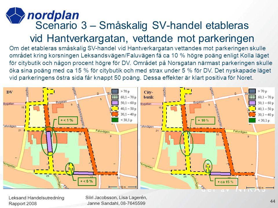 Leksand Handelsutredning Rapport 2008 Siiri Jacobsson, Lisa Lagerén, Janne Sandahl, 08-7645599 44 Scenario 3 – Småskalig SV-handel etableras vid Hantv