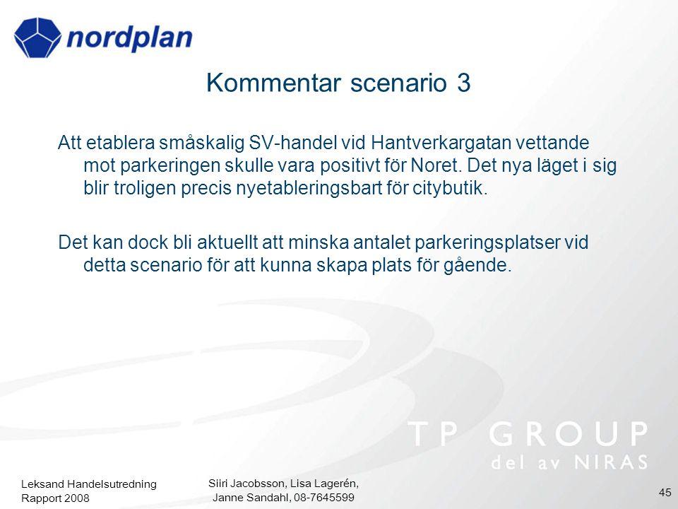 Leksand Handelsutredning Rapport 2008 Siiri Jacobsson, Lisa Lagerén, Janne Sandahl, 08-7645599 45 Kommentar scenario 3 Att etablera småskalig SV-hande