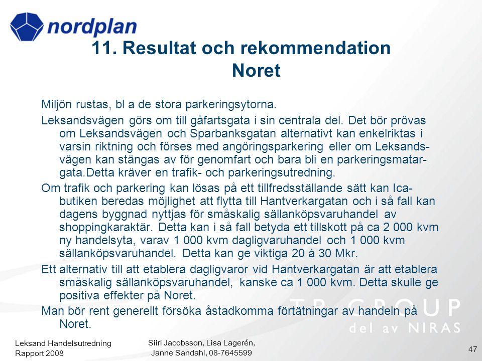 Leksand Handelsutredning Rapport 2008 Siiri Jacobsson, Lisa Lagerén, Janne Sandahl, 08-7645599 47 11. Resultat och rekommendation Noret Miljön rustas,