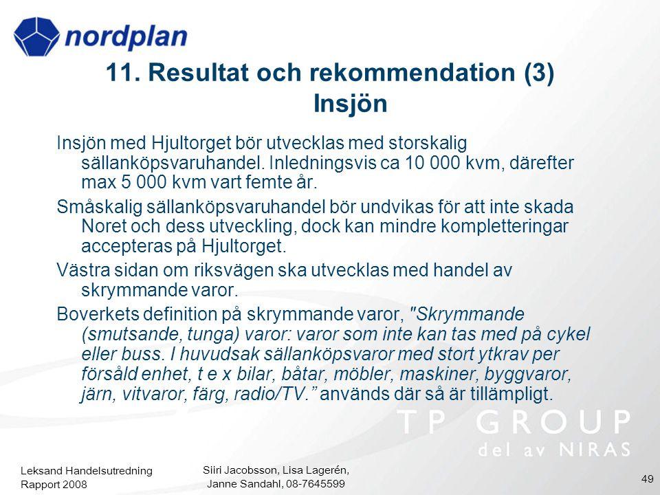 Leksand Handelsutredning Rapport 2008 Siiri Jacobsson, Lisa Lagerén, Janne Sandahl, 08-7645599 49 Insjön med Hjultorget bör utvecklas med storskalig s