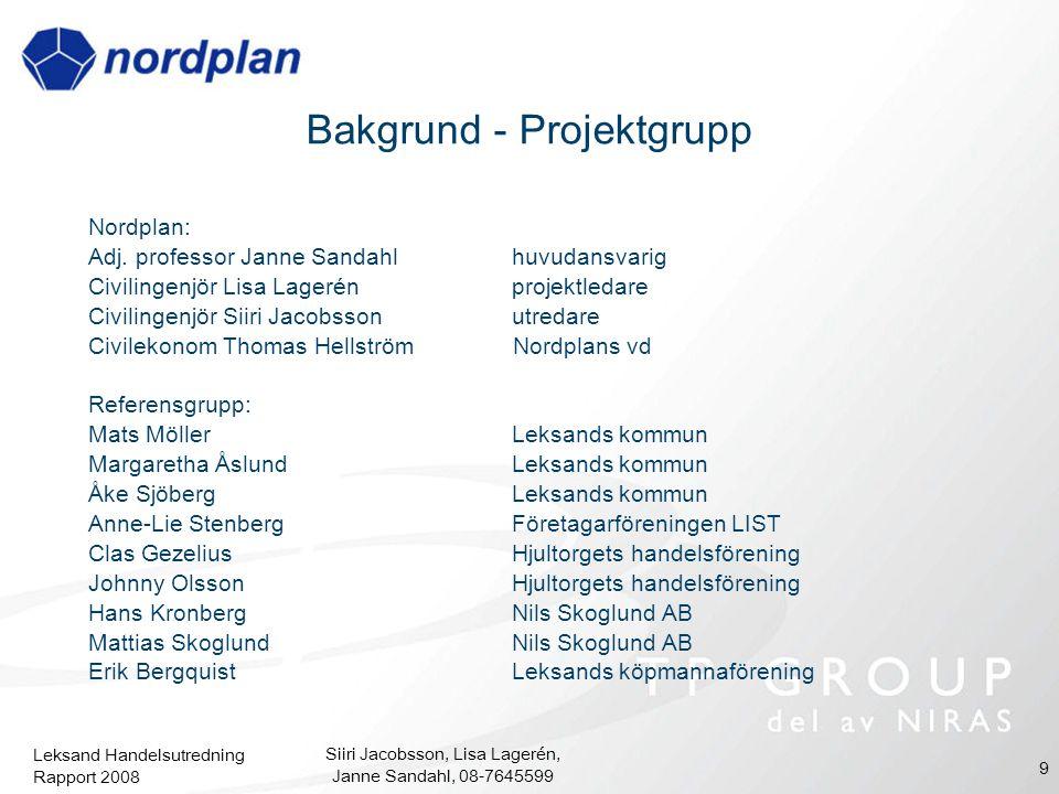 Leksand Handelsutredning Rapport 2008 Siiri Jacobsson, Lisa Lagerén, Janne Sandahl, 08-7645599 9 Bakgrund - Projektgrupp Nordplan: Adj. professor Jann
