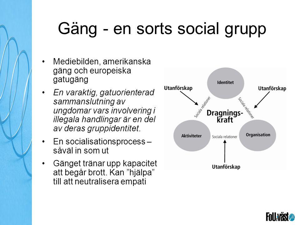 Gäng - en sorts social grupp Mediebilden, amerikanska gäng och europeiska gatugäng En varaktig, gatuorienterad sammanslutning av ungdomar vars involve