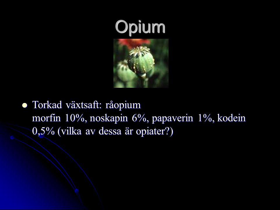 Opium Torkad växtsaft: råopium morfin 10%, noskapin 6%, papaverin 1%, kodein 0,5% (vilka av dessa är opiater?) Torkad växtsaft: råopium morfin 10%, noskapin 6%, papaverin 1%, kodein 0,5% (vilka av dessa är opiater?)