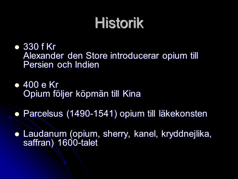 Historik 330 f Kr Alexander den Store introducerar opium till Persien och Indien 330 f Kr Alexander den Store introducerar opium till Persien och Indi