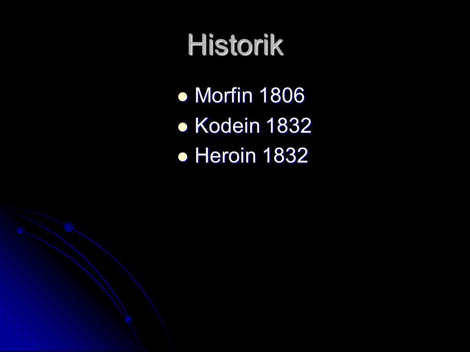 Historik Morfin 1806 Morfin 1806 Kodein 1832 Kodein 1832 Heroin 1832 Heroin 1832