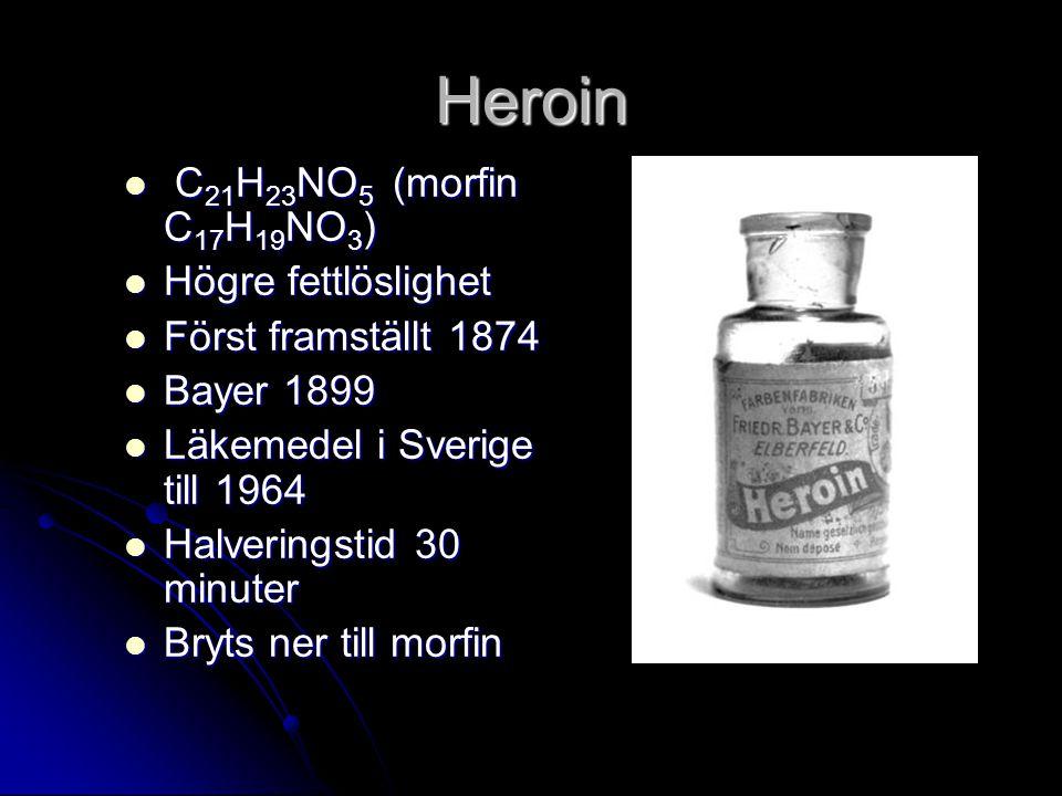 Heroin C 21 H 23 NO 5 (morfin C 17 H 19 NO 3 ) C 21 H 23 NO 5 (morfin C 17 H 19 NO 3 ) Högre fettlöslighet Högre fettlöslighet Först framställt 1874 Först framställt 1874 Bayer 1899 Bayer 1899 Läkemedel i Sverige till 1964 Läkemedel i Sverige till 1964 Halveringstid 30 minuter Halveringstid 30 minuter Bryts ner till morfin Bryts ner till morfin