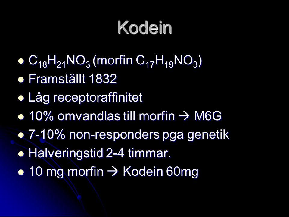 Kodein C 18 H 21 NO 3 (morfin C 17 H 19 NO 3 ) C 18 H 21 NO 3 (morfin C 17 H 19 NO 3 ) Framställt 1832 Framställt 1832 Låg receptoraffinitet Låg receptoraffinitet 10% omvandlas till morfin  M6G 10% omvandlas till morfin  M6G 7-10% non-responders pga genetik 7-10% non-responders pga genetik Halveringstid 2-4 timmar.