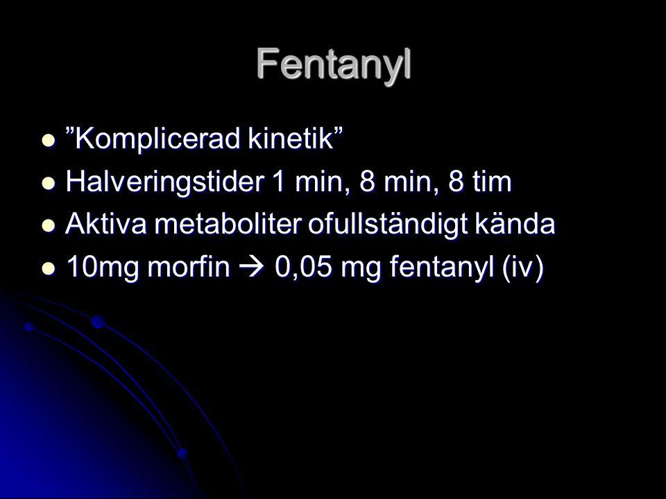 Fentanyl Komplicerad kinetik Komplicerad kinetik Halveringstider 1 min, 8 min, 8 tim Halveringstider 1 min, 8 min, 8 tim Aktiva metaboliter ofullständigt kända Aktiva metaboliter ofullständigt kända 10mg morfin  0,05 mg fentanyl (iv) 10mg morfin  0,05 mg fentanyl (iv)