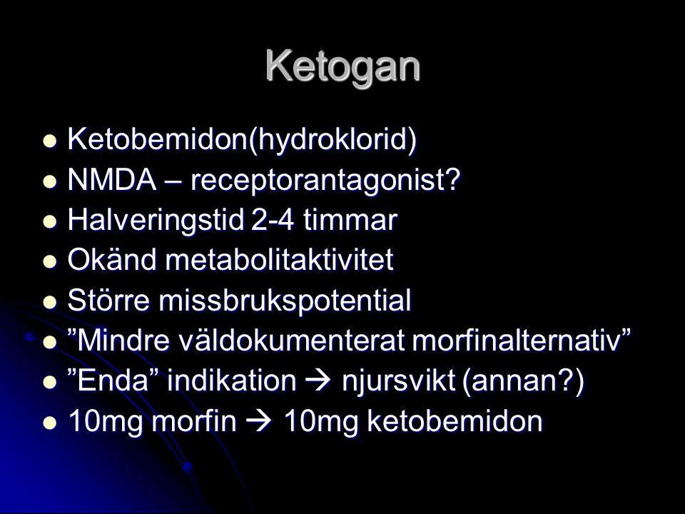 Ketogan Ketobemidon(hydroklorid) Ketobemidon(hydroklorid) NMDA – receptorantagonist? NMDA – receptorantagonist? Halveringstid 2-4 timmar Halveringstid