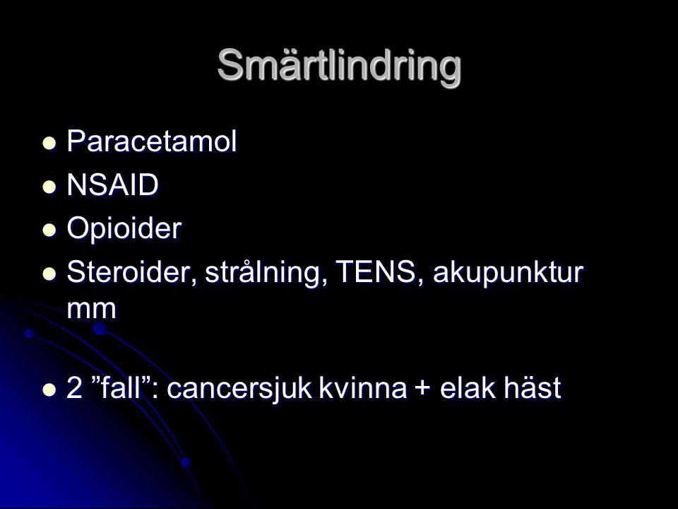 Smärtlindring Paracetamol Paracetamol NSAID NSAID Opioider Opioider Steroider, strålning, TENS, akupunktur mm Steroider, strålning, TENS, akupunktur mm 2 fall : cancersjuk kvinna + elak häst 2 fall : cancersjuk kvinna + elak häst