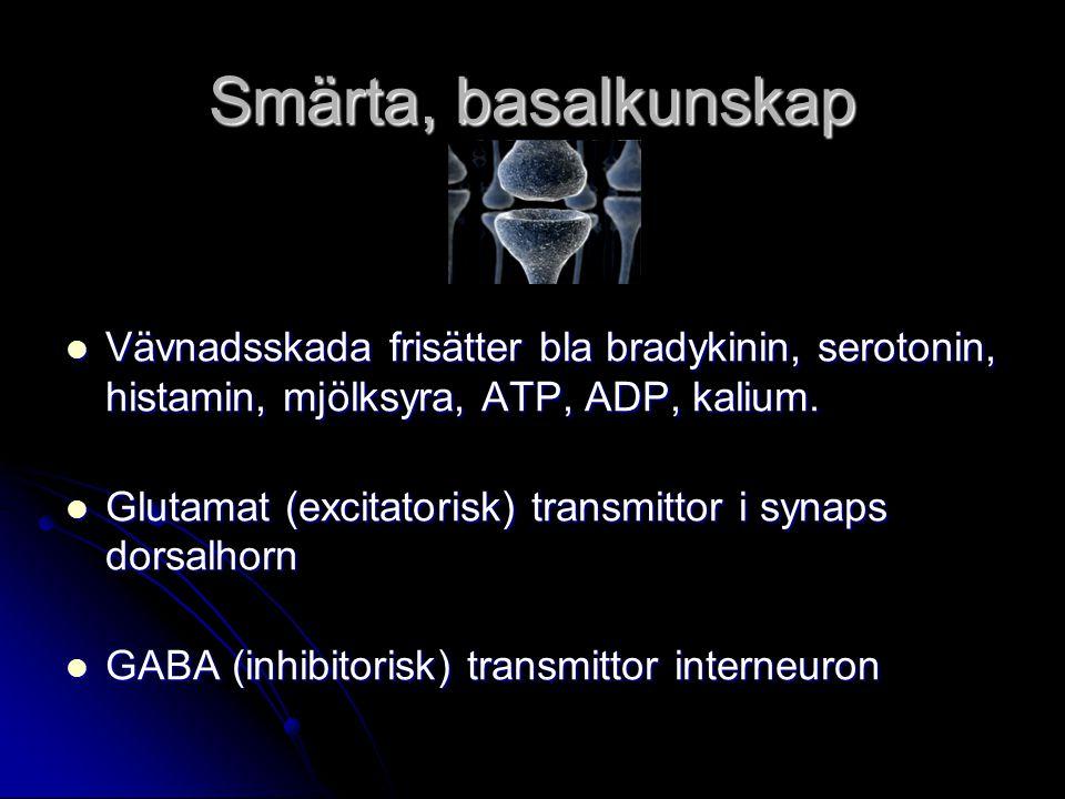 Smärta, basalkunskap Vävnadsskada frisätter bla bradykinin, serotonin, histamin, mjölksyra, ATP, ADP, kalium. Vävnadsskada frisätter bla bradykinin, s