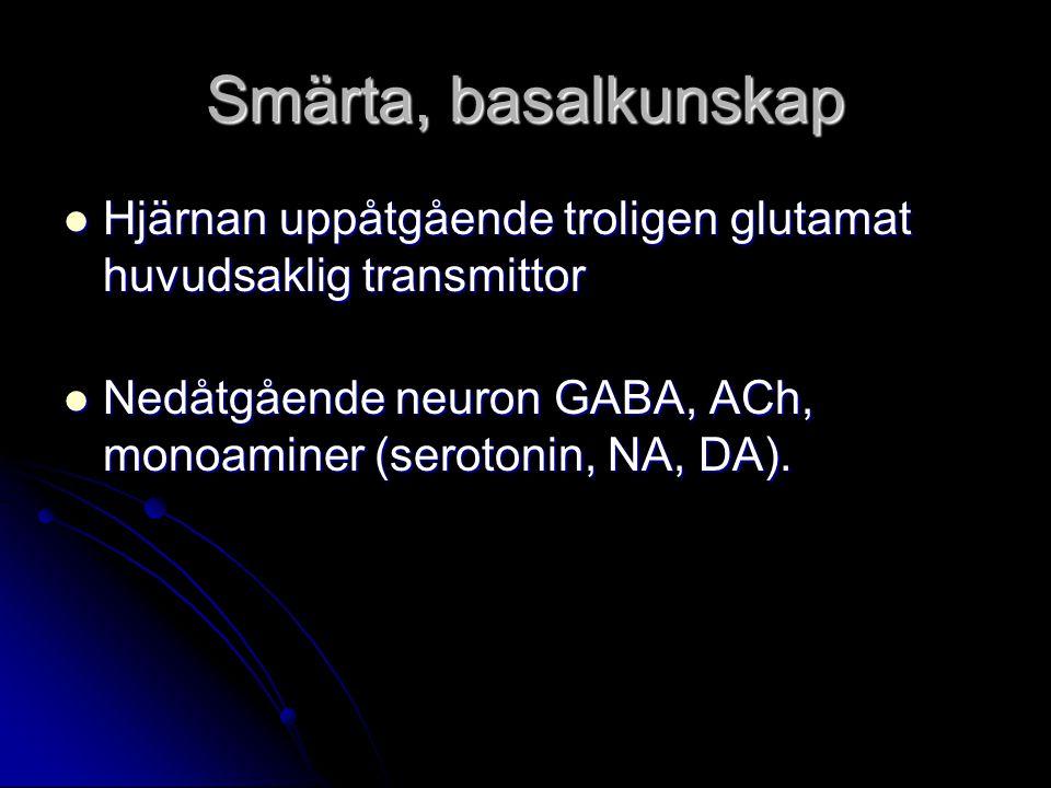 Smärta, basalkunskap Hjärnan uppåtgående troligen glutamat huvudsaklig transmittor Hjärnan uppåtgående troligen glutamat huvudsaklig transmittor Nedåt