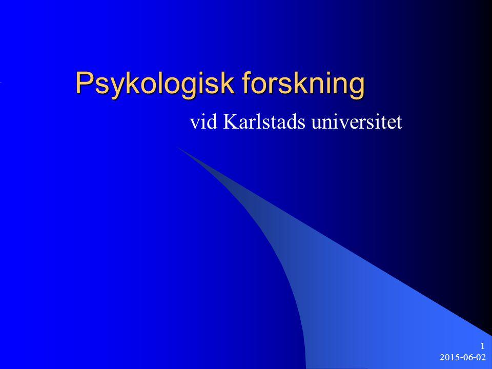 2015-06-02 22 Allmän terapiforskning I samarbete med LiV genomförs ett projekt där en doktorand (Lindgren) undersöker terapeutens egenskaper och betydelse oavsett skolbildning Intervjuer av terapeuter Intervjuer av klienter Stor relevans för ett psykologprogram