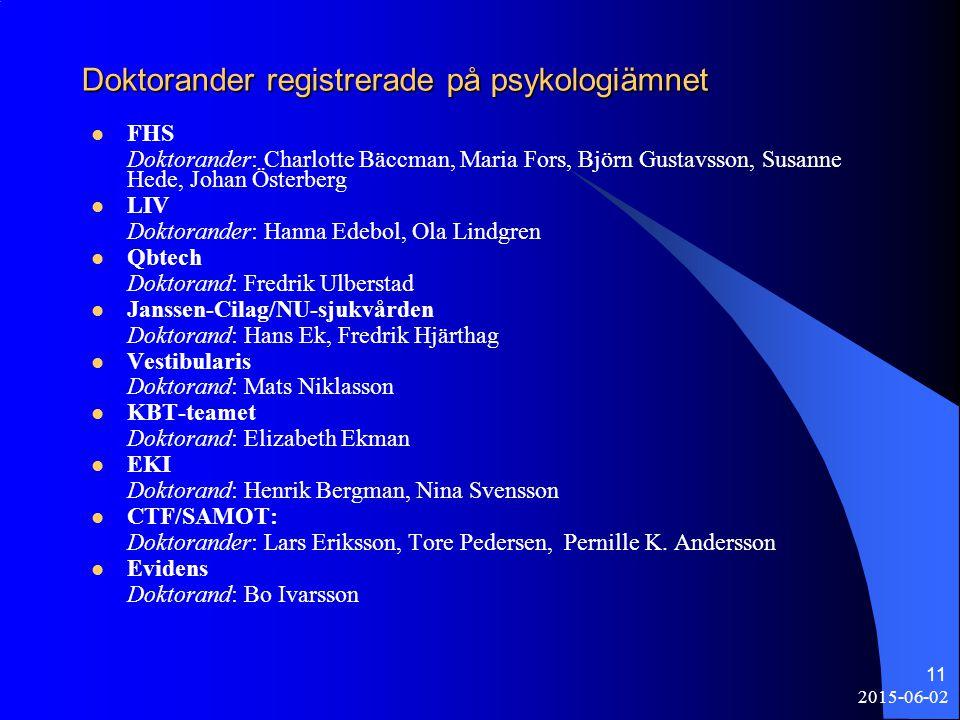 2015-06-02 11 Doktorander registrerade på psykologiämnet FHS Doktorander: Charlotte Bäccman, Maria Fors, Björn Gustavsson, Susanne Hede, Johan Österbe