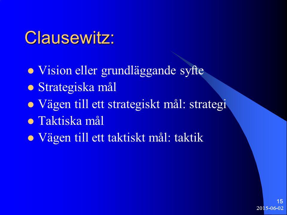 2015-06-02 15 Clausewitz: Vision eller grundläggande syfte Strategiska mål Vägen till ett strategiskt mål: strategi Taktiska mål Vägen till ett taktis