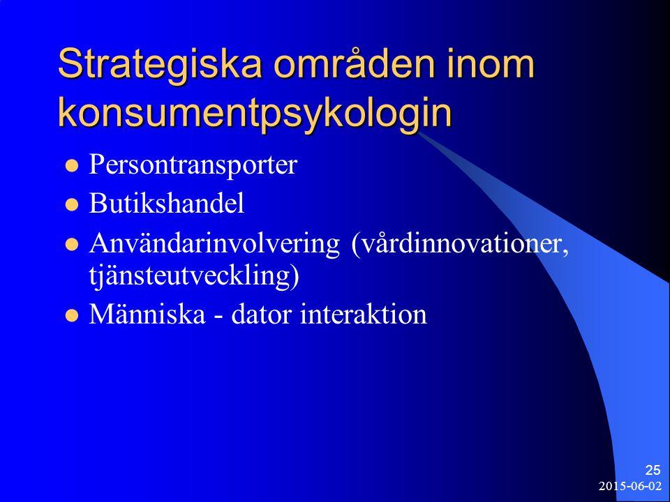 2015-06-02 25 Strategiska områden inom konsumentpsykologin Persontransporter Butikshandel Användarinvolvering (vårdinnovationer, tjänsteutveckling) Mä