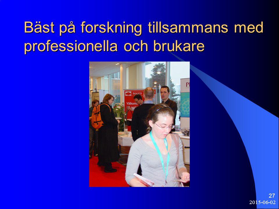 2015-06-02 27 Bäst på forskning tillsammans med professionella och brukare