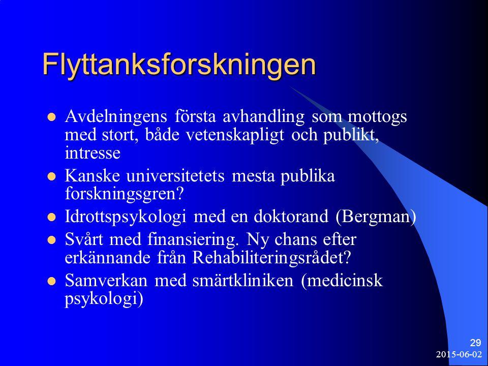 2015-06-02 29 Flyttanksforskningen Avdelningens första avhandling som mottogs med stort, både vetenskapligt och publikt, intresse Kanske universitetet