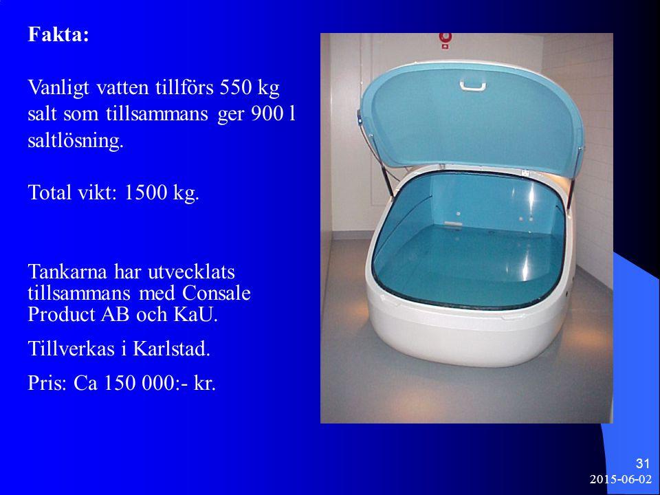2015-06-02 31 Fakta: Vanligt vatten tillförs 550 kg salt som tillsammans ger 900 l saltlösning. Total vikt: 1500 kg. Tankarna har utvecklats tillsamma