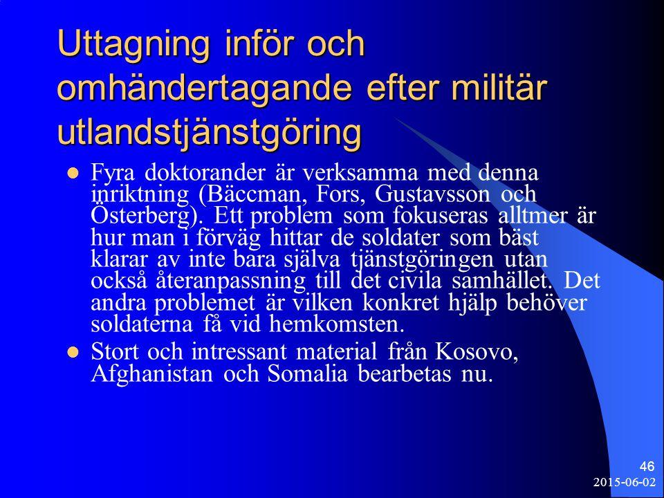 2015-06-02 46 Uttagning inför och omhändertagande efter militär utlandstjänstgöring Fyra doktorander är verksamma med denna inriktning (Bäccman, Fors,