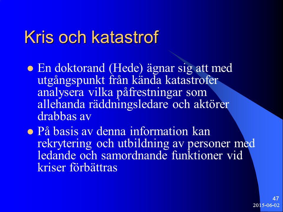 2015-06-02 47 Kris och katastrof En doktorand (Hede) ägnar sig att med utgångspunkt från kända katastrofer analysera vilka påfrestningar som allehanda