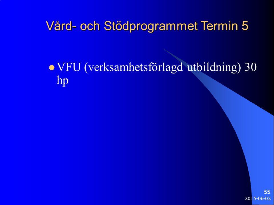 2015-06-02 55 Vård- och Stödprogrammet Termin 5 VFU (verksamhetsförlagd utbildning) 30 hp