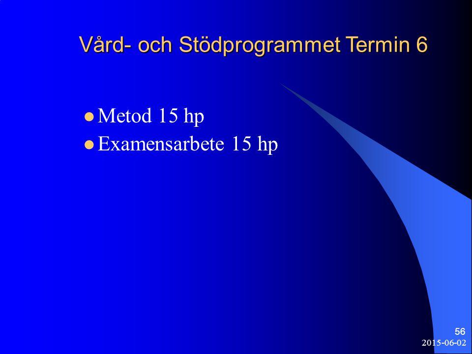 2015-06-02 56 Vård- och Stödprogrammet Termin 6 Metod 15 hp Examensarbete 15 hp