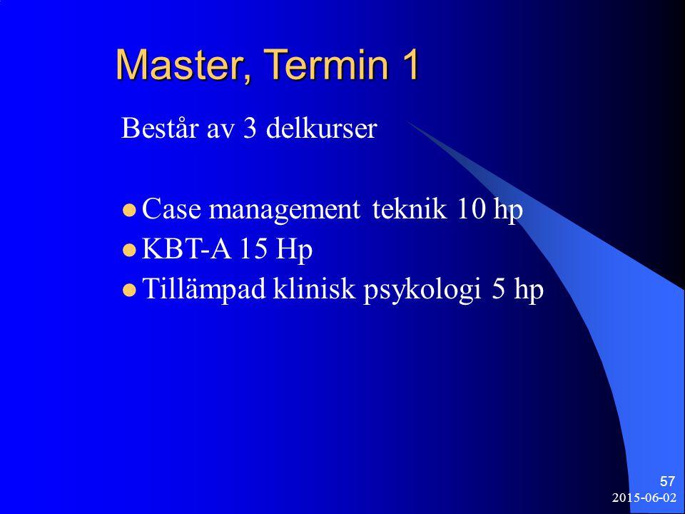 2015-06-02 57 Master, Termin 1 Består av 3 delkurser Case management teknik 10 hp KBT-A 15 Hp Tillämpad klinisk psykologi 5 hp