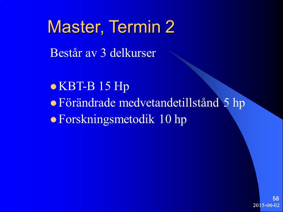 2015-06-02 58 Master, Termin 2 Består av 3 delkurser KBT-B 15 Hp Förändrade medvetandetillstånd 5 hp Forskningsmetodik 10 hp