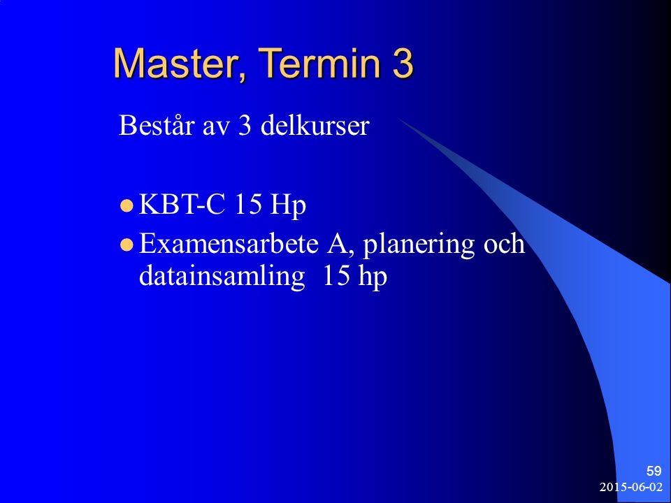 2015-06-02 59 Master, Termin 3 Består av 3 delkurser KBT-C 15 Hp Examensarbete A, planering och datainsamling 15 hp