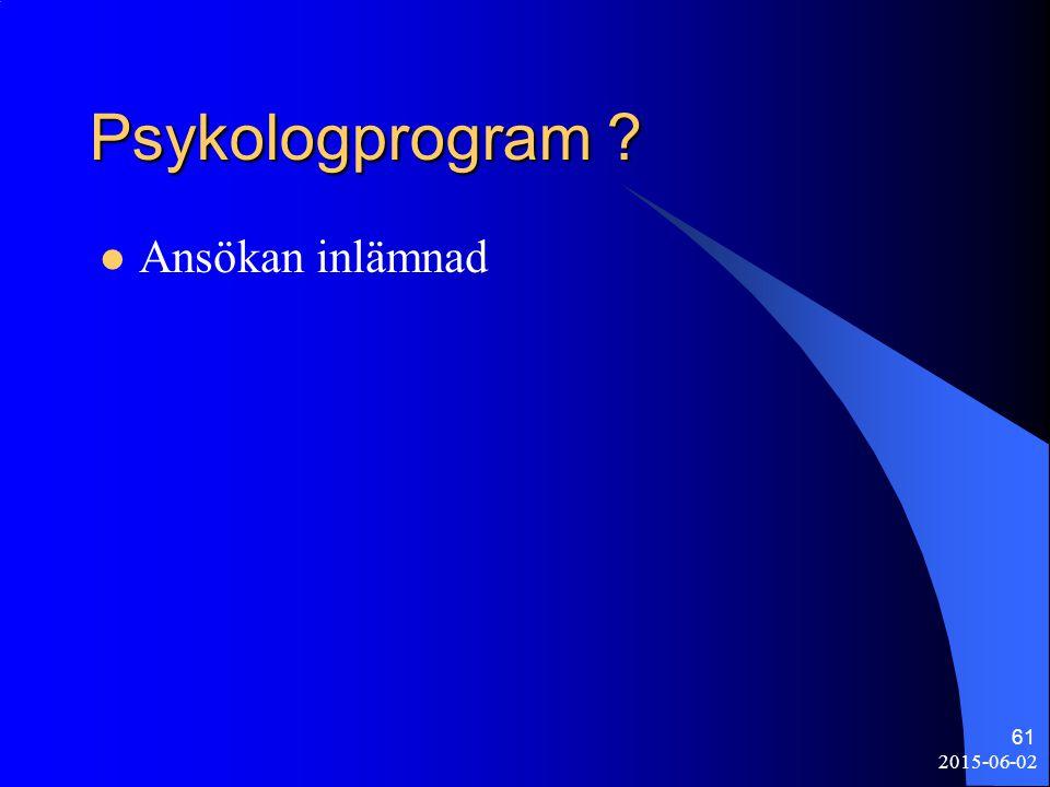 Psykologprogram ? Ansökan inlämnad 2015-06-02 61