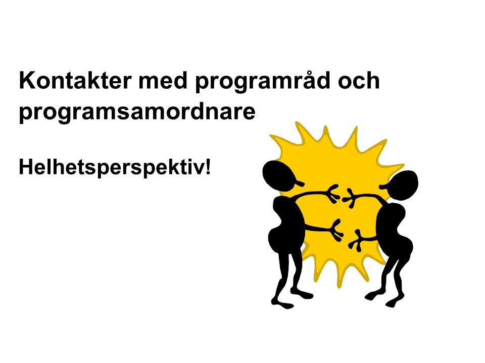 Graham Gibbs Kontakter med programråd och programsamordnare Helhetsperspektiv!
