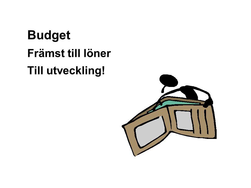 Graham Gibbs Budget Främst till löner Till utveckling!
