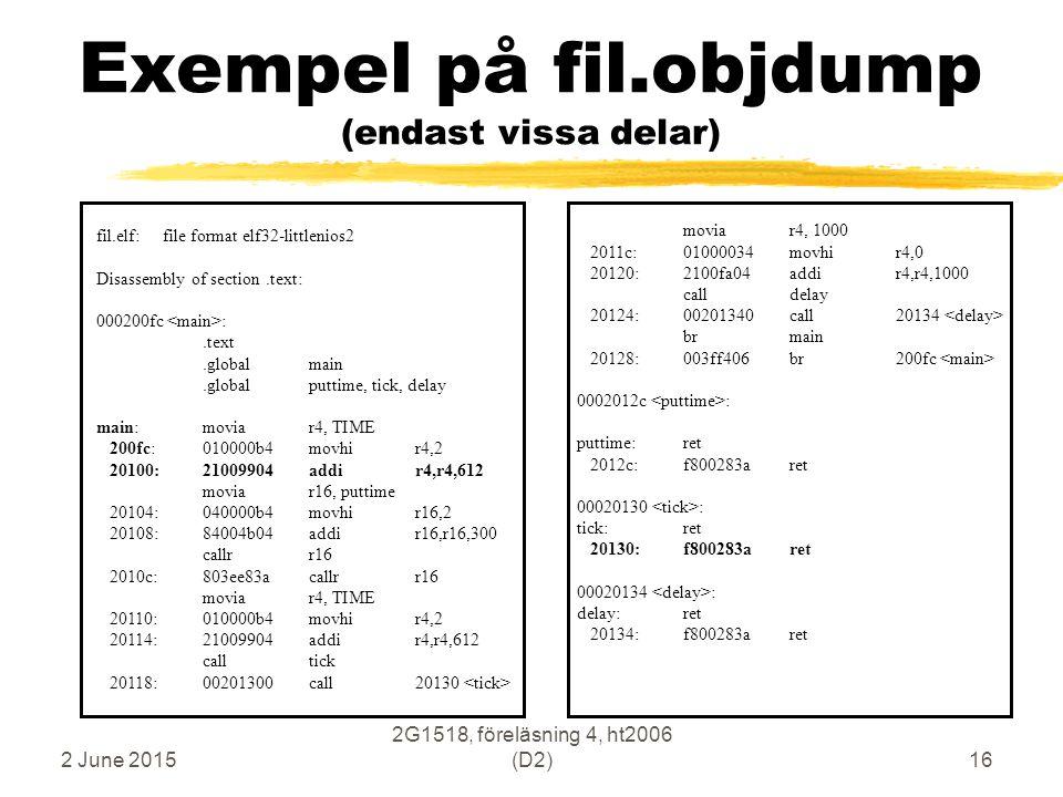 2 June 2015 2G1518, föreläsning 4, ht2006 (D2)16 Exempel på fil.objdump (endast vissa delar) fil.elf: file format elf32-littlenios2 Disassembly of sec