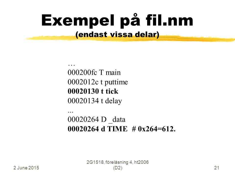 2 June 2015 2G1518, föreläsning 4, ht2006 (D2)21 Exempel på fil.nm (endast vissa delar) … 000200fc T main 0002012c t puttime 00020130 t tick 00020134