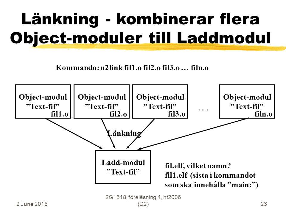"""2 June 2015 2G1518, föreläsning 4, ht2006 (D2)23 Länkning - kombinerar flera Object-moduler till Laddmodul Ladd-modul """"Text-fil"""" Länkning Object-modul"""