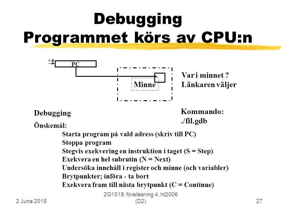2 June 2015 2G1518, föreläsning 4, ht2006 (D2)27 Minne Debugging Programmet körs av CPU:n Debugging Kommando:./fil.gdb PC +4 Önskemål: Starta program