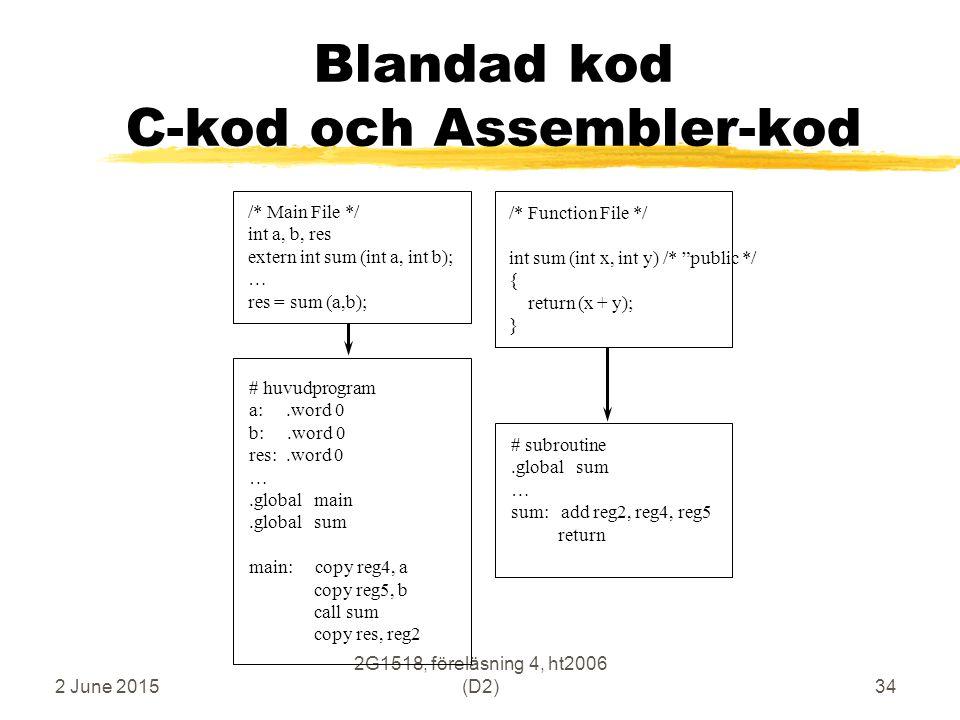 """2 June 2015 2G1518, föreläsning 4, ht2006 (D2)34 Blandad kod C-kod och Assembler-kod /* Function File */ int sum (int x, int y) /* """"public */ { return"""