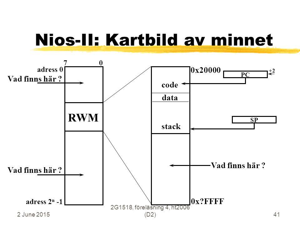 2 June 2015 2G1518, föreläsning 4, ht2006 (D2)41 Nios-II: Kartbild av minnet adress 0 adress 2 n -1 7 0 RWM data code stack 0x20000 0x?FFFF PC +2 SP V