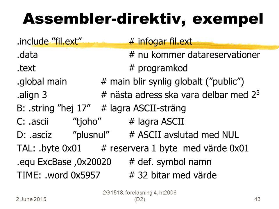 "2 June 2015 2G1518, föreläsning 4, ht2006 (D2)43 Assembler-direktiv, exempel.include ""fil.ext""# infogar fil.ext.data# nu kommer datareservationer.text"